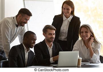 компьютер, ищу, сотрудников, счастливый, screen., смешанный, раса