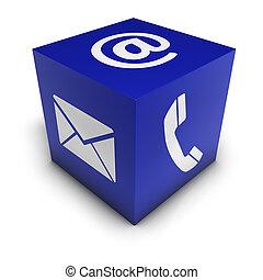 контакт, нас, web, значок, куб