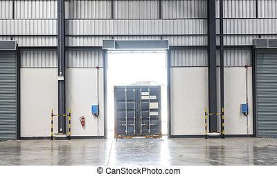 контейнер, коробка, на, грузовая машина, в, погрузка, док, перевозка, промышленность, склад