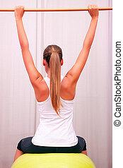 контроль, мяч, стабилизация, bobath, fitball, хобот, exercises, бассейн