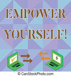 контроль, фото, портативный компьютер, знак, валюта, наш, проверить, icons, два, письмо, заметка, настройка, между, уполномочивать, жизнь, бизнес, показ, icons., goals, принятие, choices, yourself., стрела, showcasing, изготовление