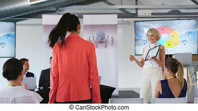 конференция, женский пол, presenting, бизнес, оратор, ...