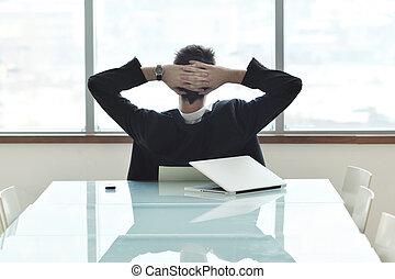 конференция, комната, бизнес, молодой, в одиночестве, человек