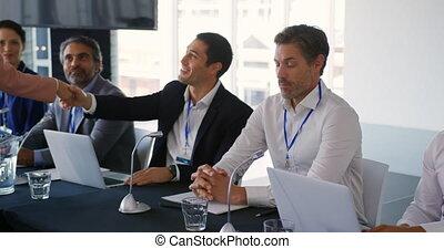 конференция, delegates, руки, shaking, бизнес