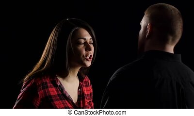конфликт, между, человек, and, women., черный