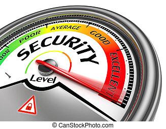 концептуальный, безопасность, метр, уровень