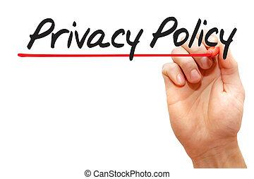 концепция, бизнес, конфиденциальность, письмо, политика, рука