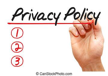 концепция, бизнес, конфиденциальность, письмо, список, политика, рука