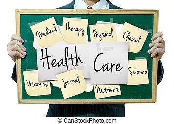 концепция, бизнес, медицинская, задний план, доска, держа, человек