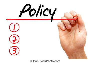 концепция, бизнес, письмо, список, политика, рука