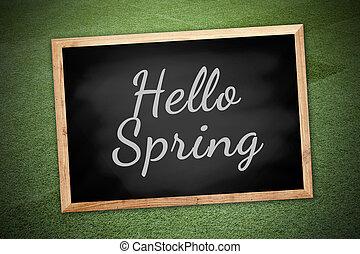 концепция, весна, текстура, мел, поле, зеленый, доска, задний план, здравствуйте