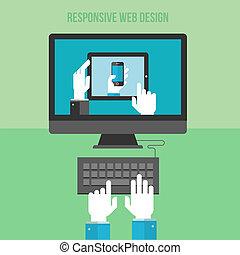 концепция, для, отзывчивый, web, дизайн