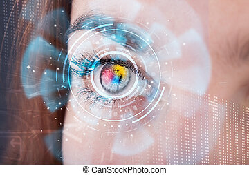концепция, женщина, глаз, cyber, будущее, технологии, панель