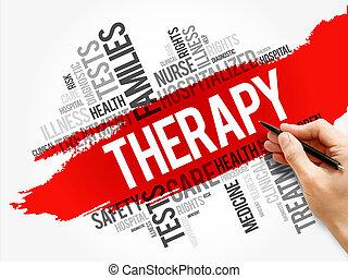 концепция, коллаж, терапия, слово, облако, здоровье