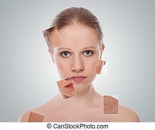концепция, красота, молодой, после, косметический, лицо, effects, женщина, лечение, кожа, care., процедура, до