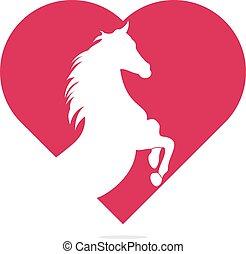 концепция, лошадь, сердце, форма, logo., глава