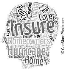 концепция, охват, текст, homeowners, флорида, wordcloud, задний план, страхование