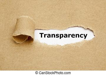 концепция, порванный, бумага, прозрачность
