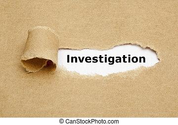 концепция, порванный, бумага, расследование