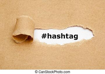 концепция, порванный, бумага, hashtag