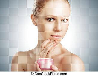 концепция, после, молодой, лицо, effects, женщина, косметический, лечение, кожа, care., процедура, до