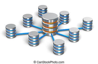 концепция, сетей, база данных