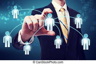 концепция, сетей, социальное