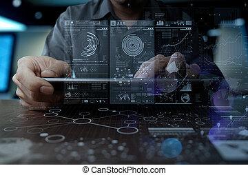 концепция, сеть, за работой, врач, медицинская, современное, рука, лекарственное средство, компьютер, интерфейс