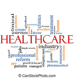 концепция, слово, облако, healthcare