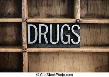 концепция, слово, типографской, drugs, металл, выдвижной ящик