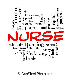 концепция, слово, caps, облако, медсестра, красный