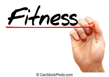 концепция, фитнес, рука, письмо