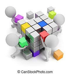 концепция, creating, люди, -, маленький, 3d