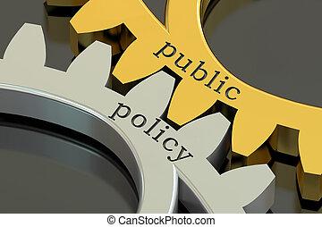 концепция, gearwheels, оказание, политика, общественности, 3d