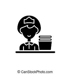 концепция, isolated, иллюстрация, знак, background., вектор, черный, уборка, значок, символ, леди