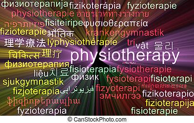 концепция, wordcloud, пылающий, физиотерапия, multilanguage, задний план