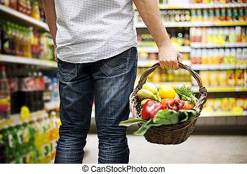 корзина, заполненный, здоровый, питание