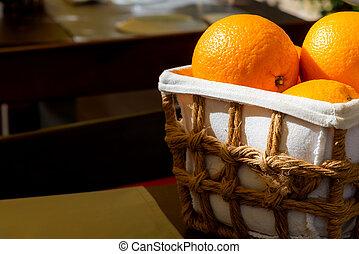 корзина, открытый, созревший, органический, оранжевый, фрукты, воздух