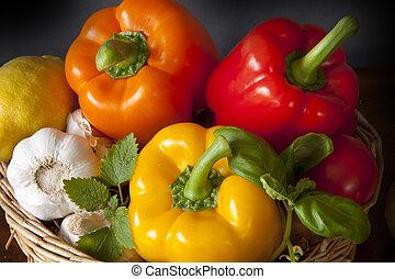 корзина, with, peppers, чеснок, лимон, and, травы