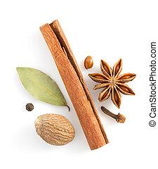 корица, sticks, анис, звезда, and, spices, на, белый