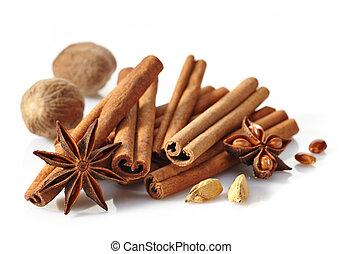 корица, sticks, and, spices