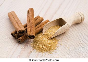 корица, with, коричневый, сахар
