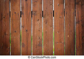 коричневый, забор, with, , яркий, размытый, задний план