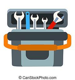 коробка, квартира, значок, стиль, инструмент, ключ