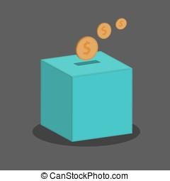 коробка, пожертвование, вектор