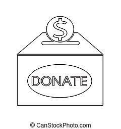 коробка, пожертвование, значок