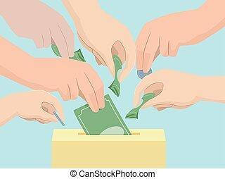 коробка, пожертвование, иллюстрация, руки