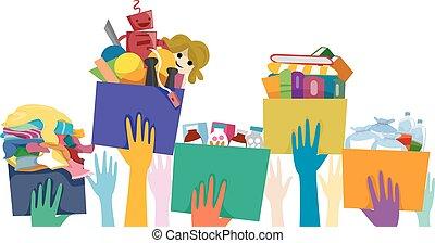 коробка, пожертвование, руки, доброволец