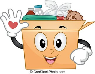 коробка, пожертвование, талисман, доброволец