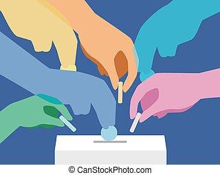 коробка, пожертвование, colors, иллюстрация, руки